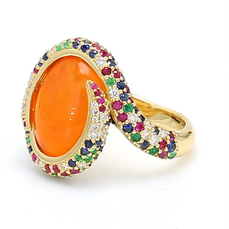 Color by Spicer Greene Swirl Fire Opal Ring