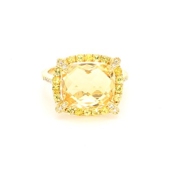 Citrine Halo Ring
