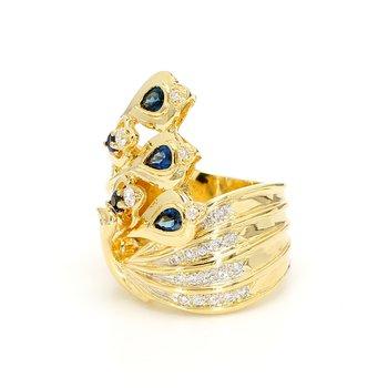 Sapphire and Diamond Peacock Ring