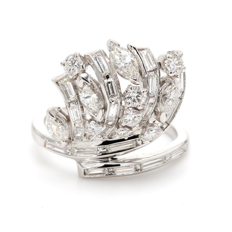 Estate Platinum Free Form Diamond Ring