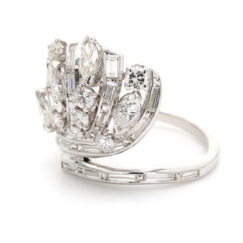 Platinum Free Form Diamond Ring