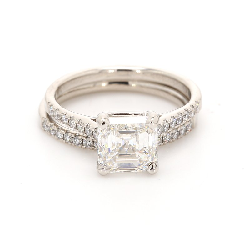 Estate Asscher Cut Solitaire with Diamonds Bridal Set