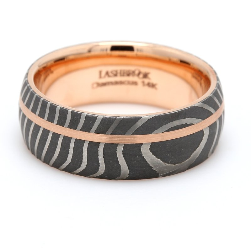 Lashbrook Designs Damascus Steel & Gold Wedding Band