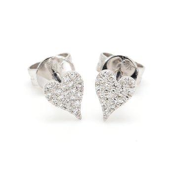 Diamond Stud Heart Earrings
