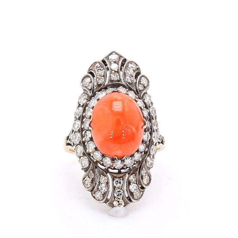 Estate Coral & Diamond Ring