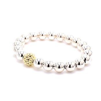 Silver & Gold Caviar Beaded Bracelet