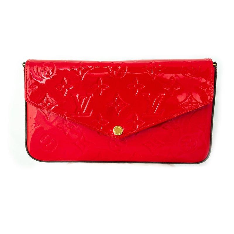 Pre-Owned Luxury Handbags Louis Vuitton Red Monogram Vernis Felicie Pochette