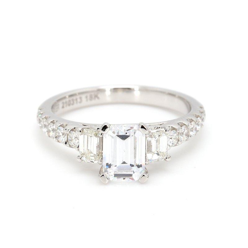 Noam Carver 3 Stone Emerald Semi Mount Engagement Ring