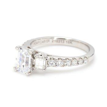 3 Stone Emerald Semi Mount Engagement Ring