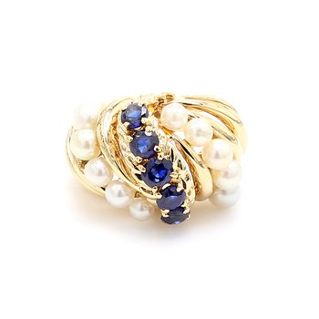 Sapphire and Pearl Ring
