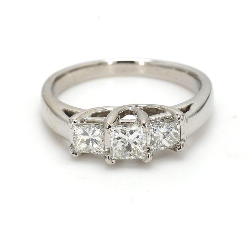 Estate Princess Cut 3 Stone Engagement Ring