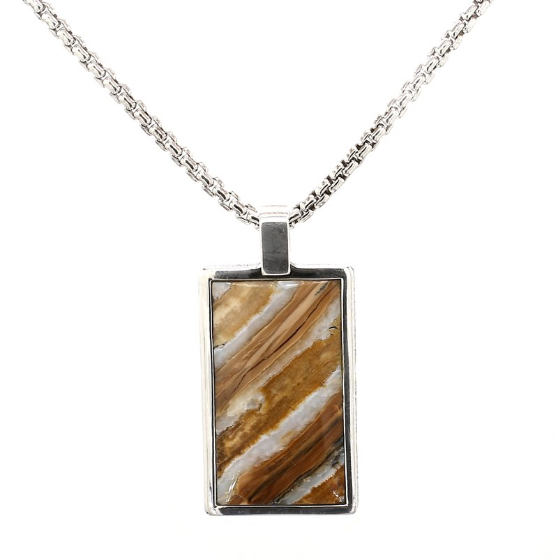 William Henry Woolly Mammoth Tooth Inlay Pendant