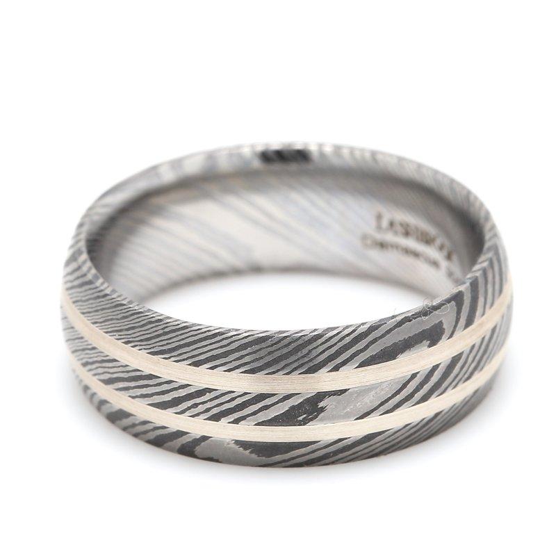 Lashbrook Designs Damascus Steel & Sterling Sliver Wedding Band
