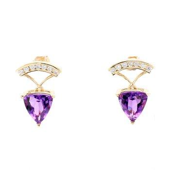 Amethyst Stud Dangle Earrings