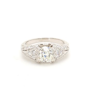 Cushion Cut Solitaire with Diamonds Engagement Ring