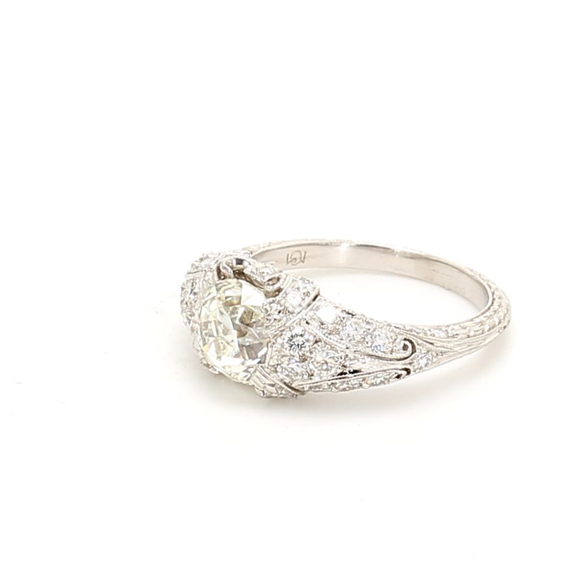 Estate Cushion Cut Solitaire with Diamonds Engagement Ring