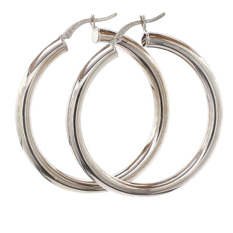 Spicer Greene White Gold Hoop Earrings