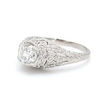 Vintage Style Solitaire with Diamonds Engagement Ring