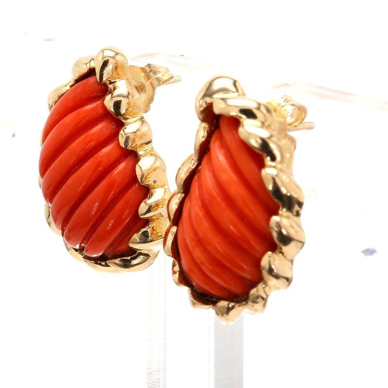 Estate Coral Earrings