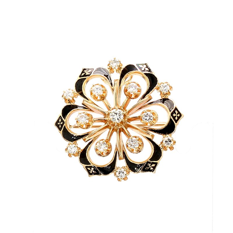 Estate Diamond Enameled Pin
