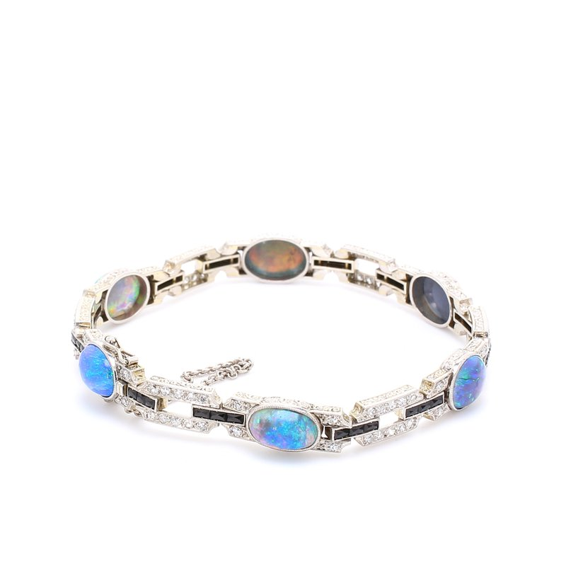 Estate Black Opal Tennis Bracelet
