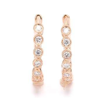Diamond Hinged Hoop Huggie Earrings