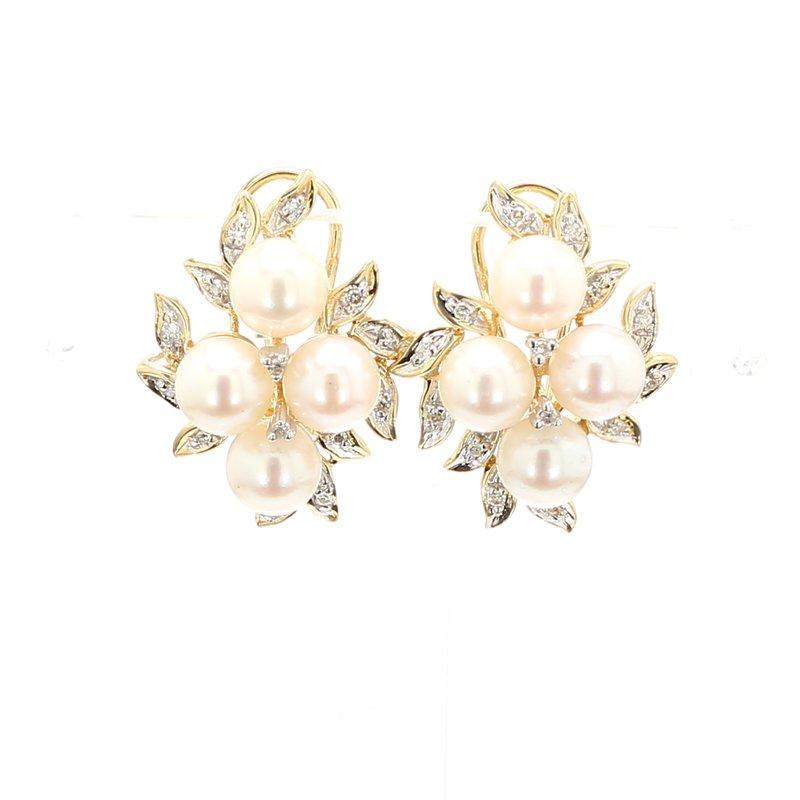 Estate Akoya Cultured Pearl Omega Back Earrings