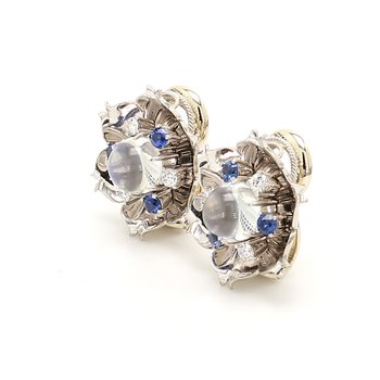 Moonstone & Sapphire Clip On Earrings