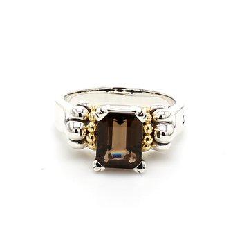 Smoky Quartz Caviar Ring