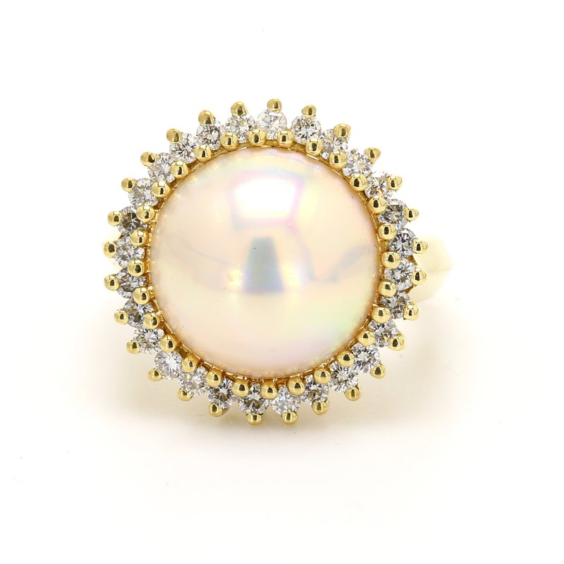 Estate Halo Mabe Pearl Ring