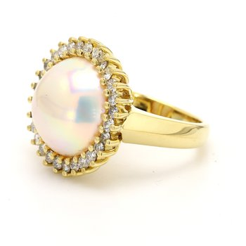 Halo Mabe Pearl Ring
