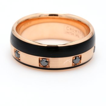 Men's Rose Gold Black Diamond Wedding Band