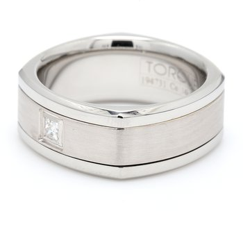 Men's White Gold, Cobalt & Diamond Wedding Band