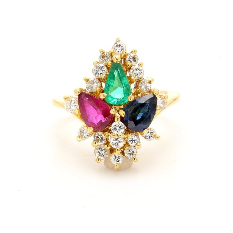 Estate Gemstone Cluster Ring