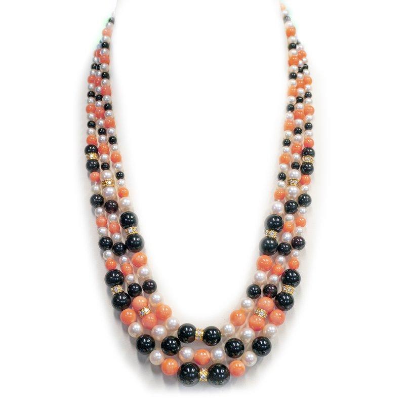 Estate 3-Strand Coral, Black Onyx & Pearl Necklace