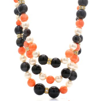 3-Strand Coral, Black Onyx & Pearl Necklace