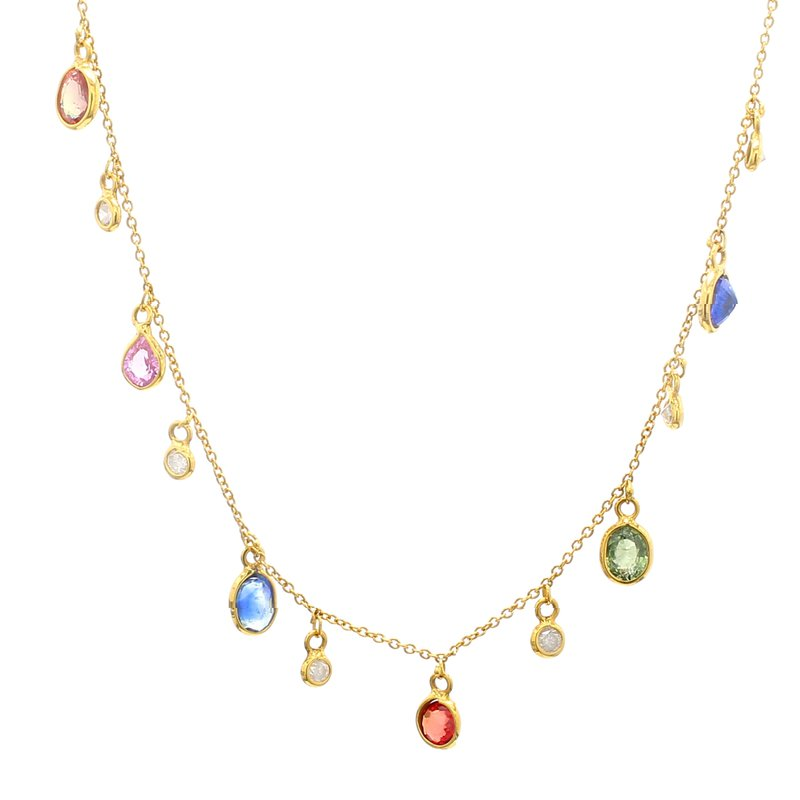Color by Spicer Greene Sapphire Fixed Pendant Necklace