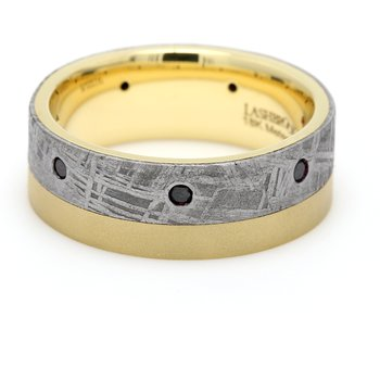 Men's Gold, Meteorite & Diamond Wedding Band