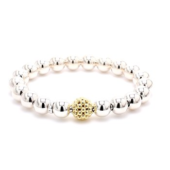 Silver & Gold Beaded Caviar Bracelet