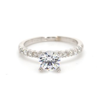 Solitaire with Diamonds Semi Mount Engagement Ring