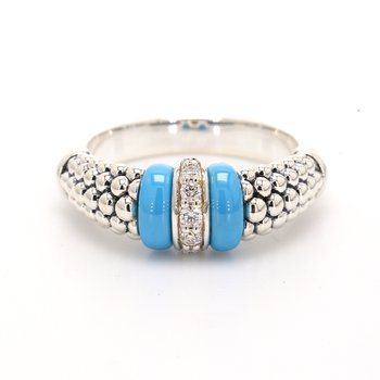 Blue Caviar Diamond Ring