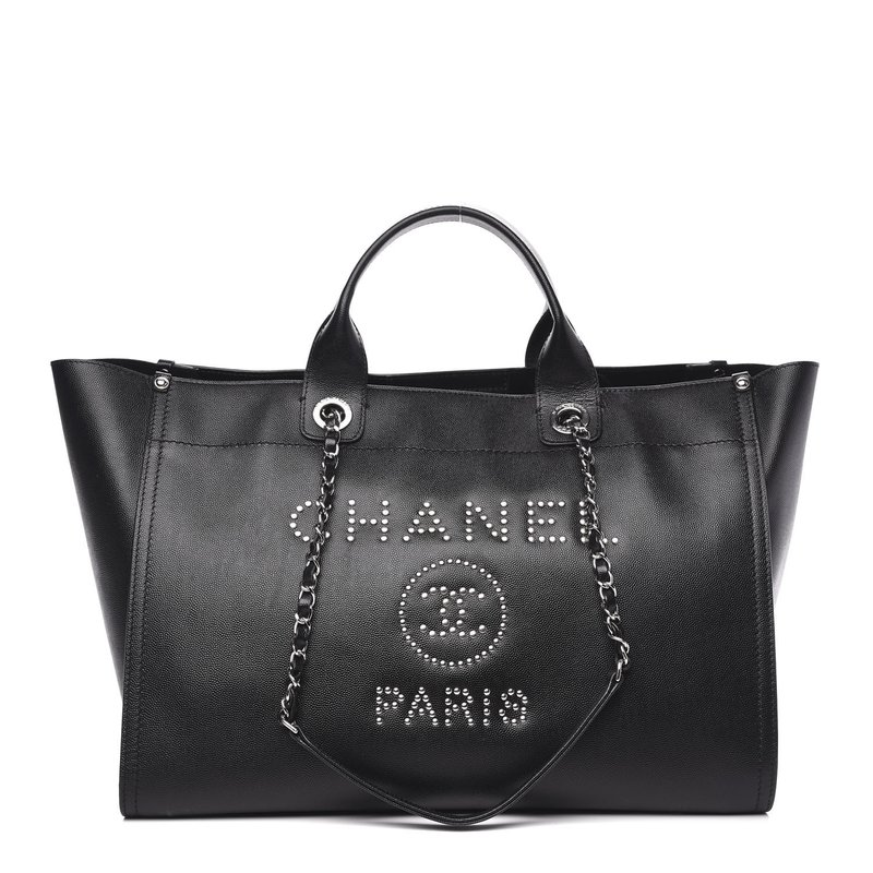 Pre-Owned Luxury Handbags Chanel Caviar Medium Studded Deauville Tote