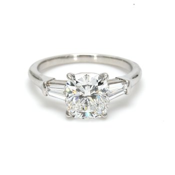 Cushion Cut 3 Stone Engagement Ring