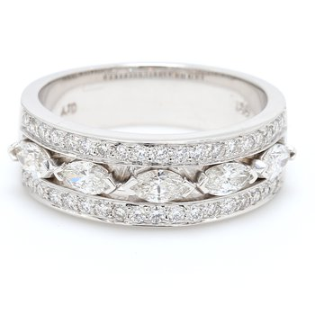 Triple Row Diamond Wedding Band