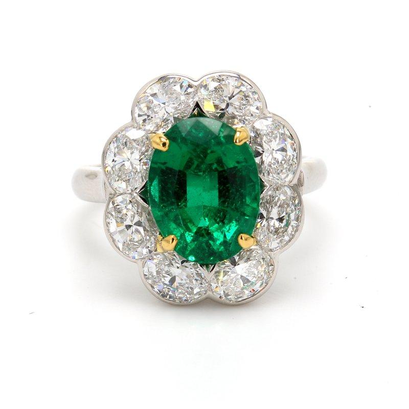 Estate Emerald Halo Ring