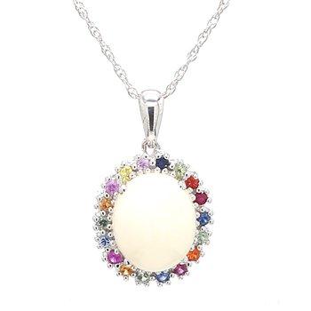Halo White Opal Pendant