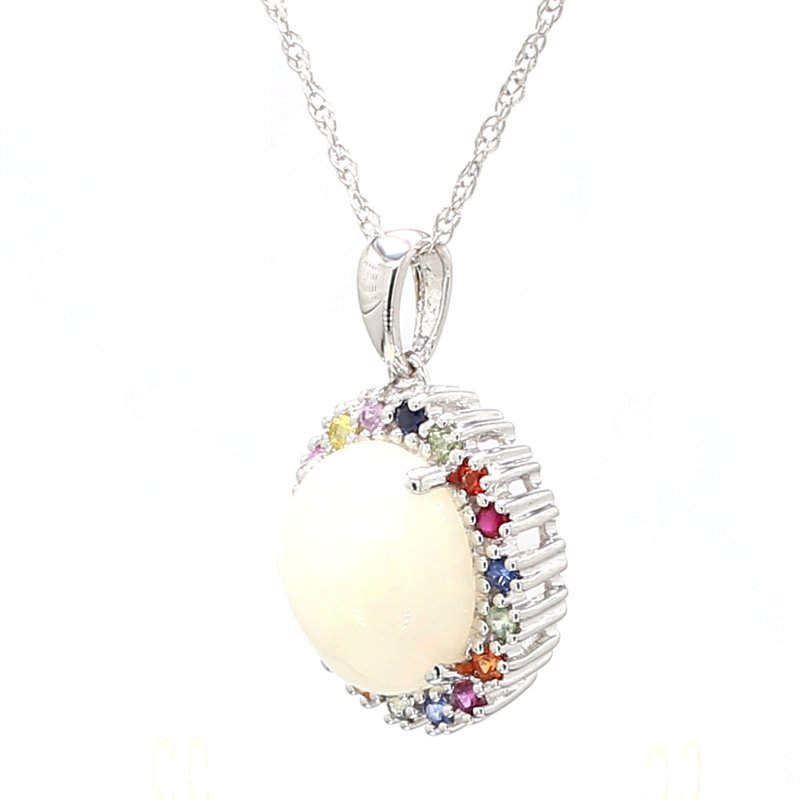 Color by Spicer Greene Halo White Opal Pendant