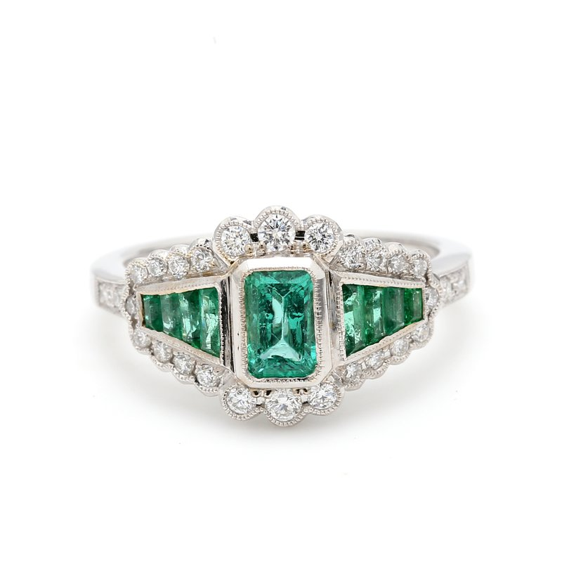 Color by Spicer Greene Cluster Emerald Ring