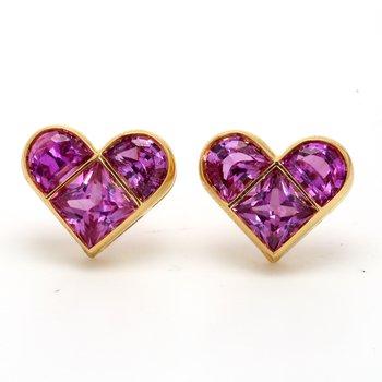 Pink Sapphire Heart Earrings