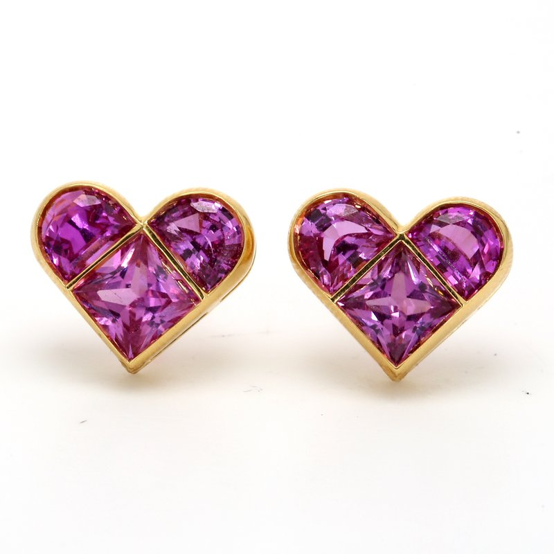 Estate Pink Sapphire Heart Earrings